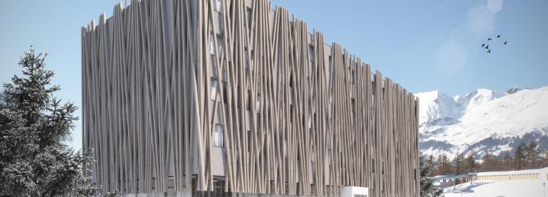 Modernes Hotelkonzept für Grindelwald- AVES mit Holzfassade