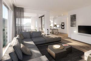 8 Neubau Zweitwohnungen in Davos - Wohnzimmer modern